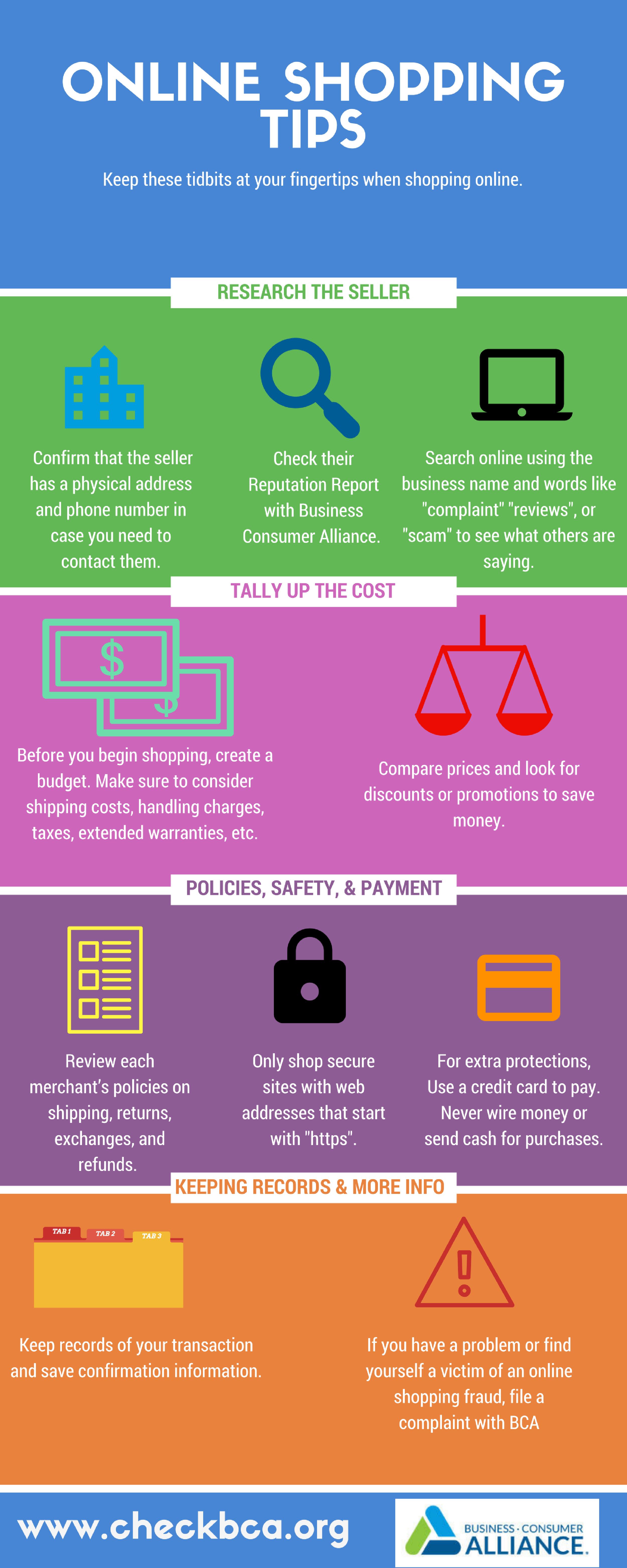 Business Consumer Alliance: Online Shopping Tips