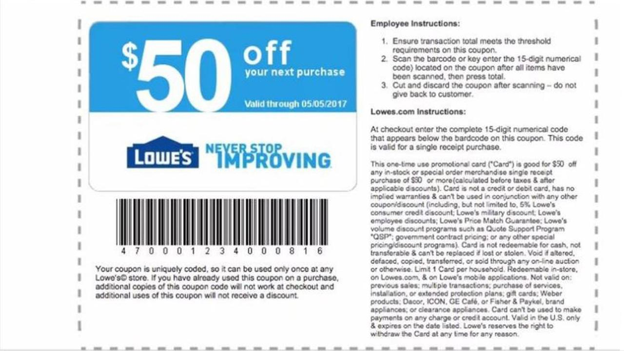 How to Use Lowe's Coupons It's possible to save % on appliances using Lowe's coupon and promo codes. You might also find a coupon for a specific dollar amount off a particular brand or department. Find all available Lowe's coupons from the search box .