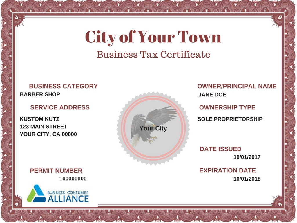 fictional business license